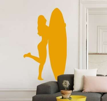 Sticker with the profile of a young and stylish girl holding a surfboard.