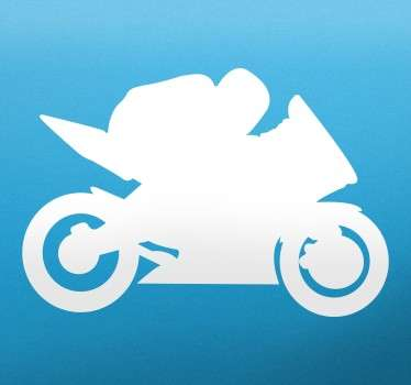 Biker silhouette vägg klistermärke