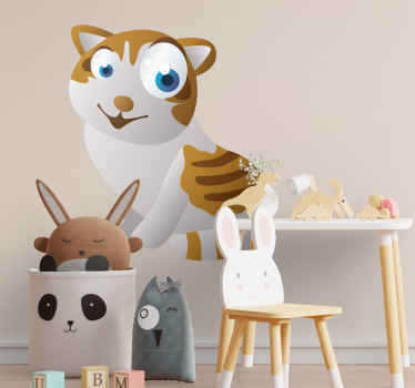 Kid Wall Stickers;Fun and playful illustration of a cat with big eyes. Cheerful design ideal for decorating areas for children.