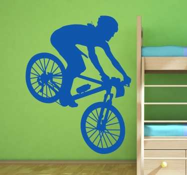 Spectacular mountain bike wall sticker for fans of the world of cycling. Do you spend the weekends cycling with your friends? Do you enjoy the thrill of off road cycling? This is an ideal sticker to suit you and your hobby.