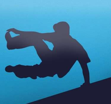 Silhouette wall sticker of a young man vaulting over a wall as he free runs through the streets. Add some action to the walls of your bedroom in any colour you want with this parkour wall sticker.