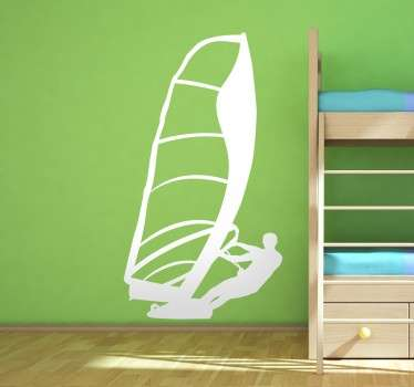 Silhouette wall sticker of a windsurfer, ideal for fans of this fun water sport. Place this mono-colour decal in your home to show how much you love this hobby, or in your business as a display piece.