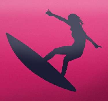 Sticker with the silhouette of a young girl doing jumps on a surfboard. Available in different sizes and colours to suit your needs.
