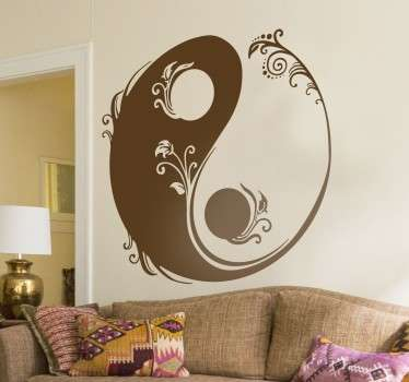 Gorgeous floral wall sticker with the iconic Chinese symbol of yin and yang to decorate your living room or bedroom to remind you that seemingly opposite things can sometimes be complementary, like light and dark.