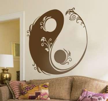 Floral yin og yang klistremerke