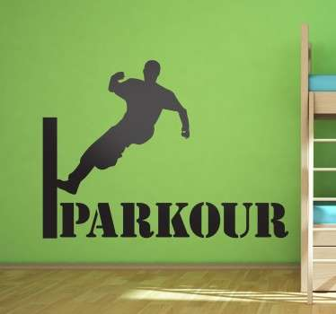 Extreme Sports Stickers - a silhouette of a man performing parkour. The parkour silhouette decal is for fans of the amazing skill.