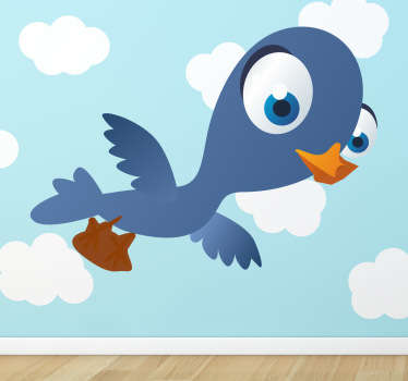 Kids Stickers - A blue swallow with big blue eyes. Great for bedrooms and play areas for kids.