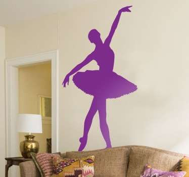 Elegant silhouette sticker showing a graceful ballet dancer in action. Original dance wall sticker that gives an elegant atmosphere to your home. Ideal for any room, whether it be an aspiring dancers bedroom room, living room or even a ballroom or dance studio.