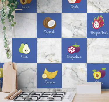 A set of stickers with different fruits to give your kitchen a new look and atmosphere. A unique design from our tile stickers for your kitchen.