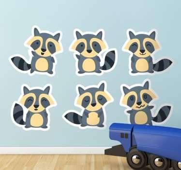 Sticker infantil dibujos de mapaches