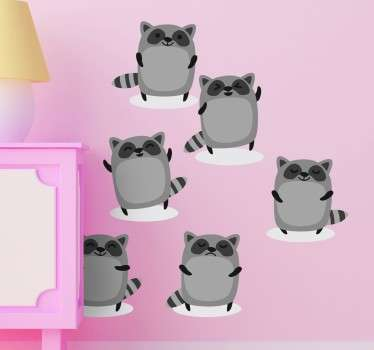 Children's Raccoon Stickers