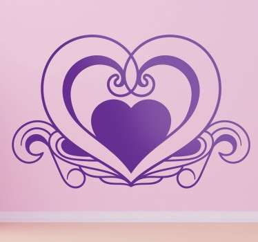 A creative heart wall art decal from our collection of heart stickers to decorate your bedroom and enjoy the atmosphere it provides.