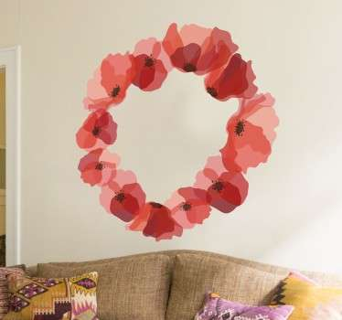 A magnificent design illustrating a wreath of poppies from our collection of poppy wall stickers to decorate any space at home.