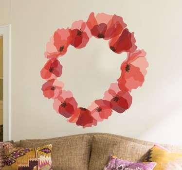Wreath of Poppies Sticker