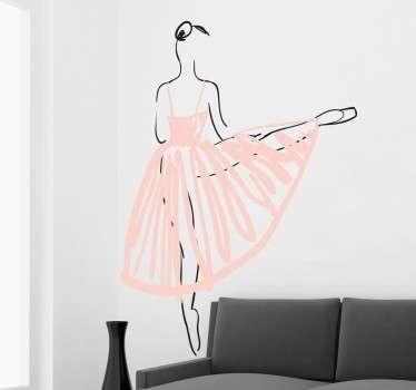 Sticker danseuse rose