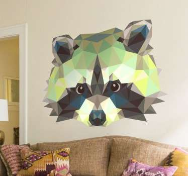 A creative raccoon wall sticker from our collection of geometric wall stickers for those animal lovers! If you are looking for a stylish design of  raccoon to decorate your home then you have found the ideal animal decal!