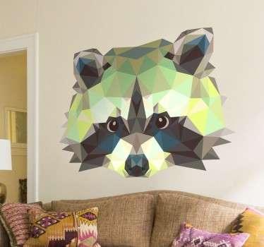 几何浣熊墙贴纸