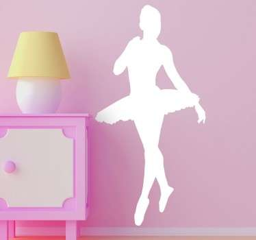 Ballet wall sticker with the silhouette of a graceful ballerina wearing a tutu. The ballerina decal comes in different colours and sizes.