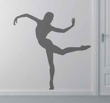 Spectacular sticker with the profile of a girl performing a contemporary dance step.