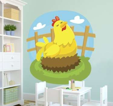 Farm animal sticker for young children of a mother hen laying on her nest. Very easy to apply and remove. Available in various sizes.