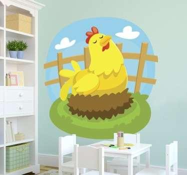 Vinil autocolante decorativo de parede infantil com animais de quinta, neste caso com uma galinha a pôr o ovo. Medidas personalizáveis.