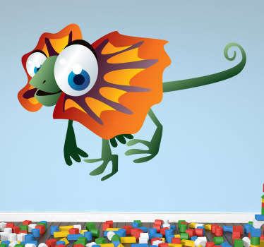 Kid Wall Stickers; Fun and playful illustration of a friendly iguana with big eyes. Cheerful design idea for decorating kids bedroom.