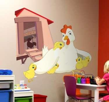 Vinilo infantil gallina y polluelos