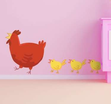 Farm animal wall stickers for children. The fun sticker shows a mother hen being followed by her chicks.