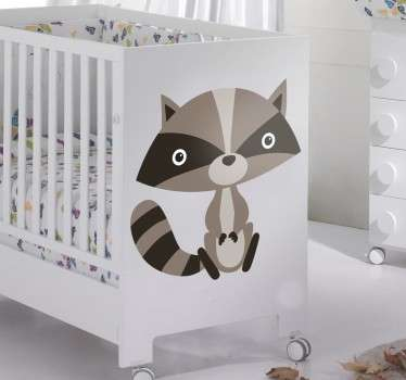 Sticker for children with a fun illustration of a small raccoon in grey tones.