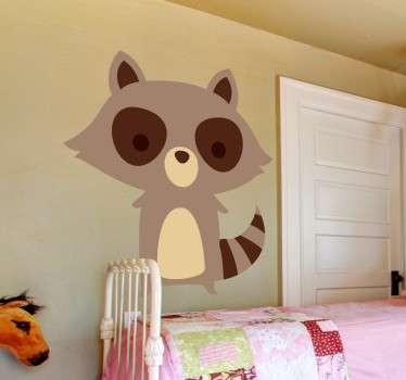 Vinilo infantil mapache marrón