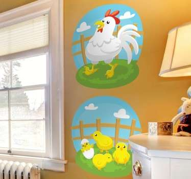 Children's sticker with fun illustration of animal life on the farm. Two decals of a mother hen and four baby chicks.