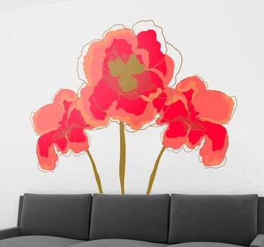 Floral decorative decal in which we can see three precious poppies from our collection of poppy wall stickers.