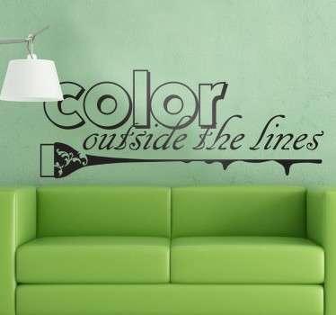 Kleur buiten de lijnen quote sticker