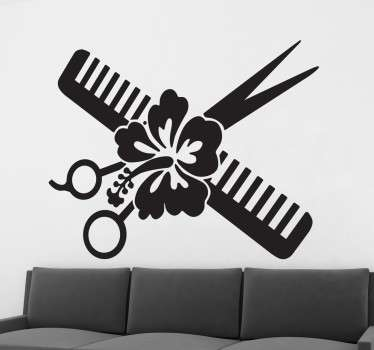 Wall sticker to decorate hairdressers and beauty establishments with an original design. A comb, scissors and a pretty Hawaiian flower in the center make this ideal to give a different, modern and special touch to your business.