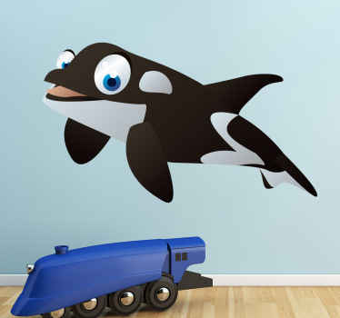 Kid Wall Stickers;Fun and playful illustration of a friendly whale with big eyes. Ideal for the kids´bedrooms and play areas.