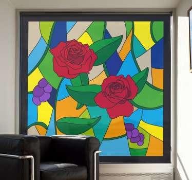 Sticker mosaique vitrail roses