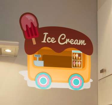 Decal of an ice cream van that serves many different delicious flavours. An Ice Cream Wall Sticker to place in a kitchen or in a food business. Sign up for 10% off.