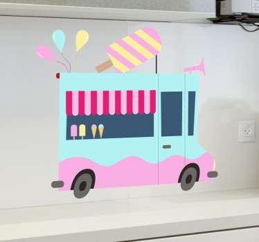 Vinyl decal illustrating an ice cream truck in blue and pink colours.