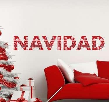 """Vinilos decorativos navideños en los que la palabra """"Navidad"""" se dibuja con una textura."""