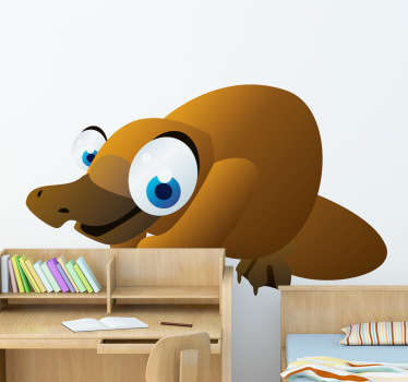 Kid Wall Stickers;Fun and playful illustration of a friendly platypus with big eyes. Ideal for the kids´bedrooms and play areas.