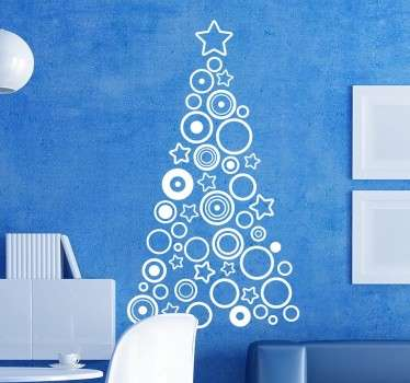 A Christmas tree wall sticker for your shop front window or to decorate your home with an original sticker during this special season of the year. Xmas wall sticker with a modern style in which a series of geometric shapes like stars and circles create the silhouette of a Christmas tree.