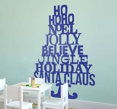 Wordy Christmas Tree Wall Sticker