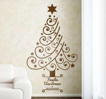 Vinilos Navidad para la decoración de tu salón con un moderno árbol y texto personalizable en la base.