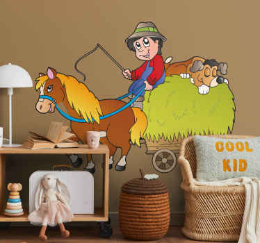 An illustration of a farmer on a wagon with his horse and sleeping dog. Brilliant horse wall art decal that your children will love!