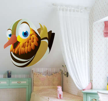 Kids Stickers - An illustration of a volatile bird with big blue eyes. Designs ideal for decorating bedrooms and stickers for kids.