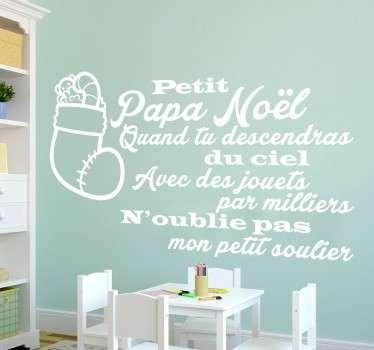 """Sticker texte """"Petit Papa Noël"""", pour décorer la chambre des enfants avec cette célèbre chanson de Noël."""