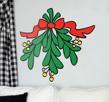 Christmas vinyl decal of a mistletoe of this festive season of the year, ideal for the holidays.