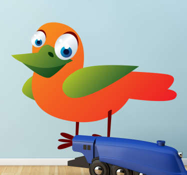 Kid Wall Stickers;Fun and playful illustration of a friendly colourful bird with big eyes.