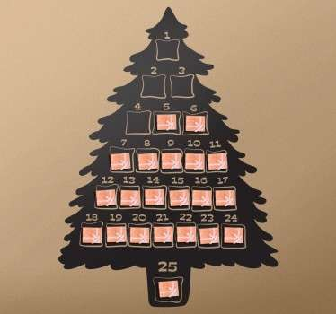 Christmas vinyl sticker of an advent calendar with the shape of a christmas tree. A fantastic silhouette illustrating the typical calendar.