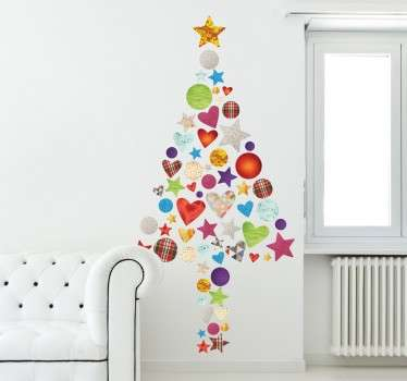 Christmas decal with a colourful design consisting of hearts, stars and circles. Easy to apply and remove from all flat surfaces.